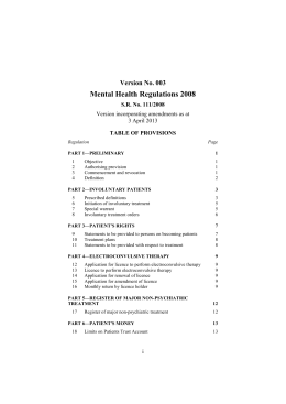 Mental Health Regulations 2008 - Victorian Legislation and