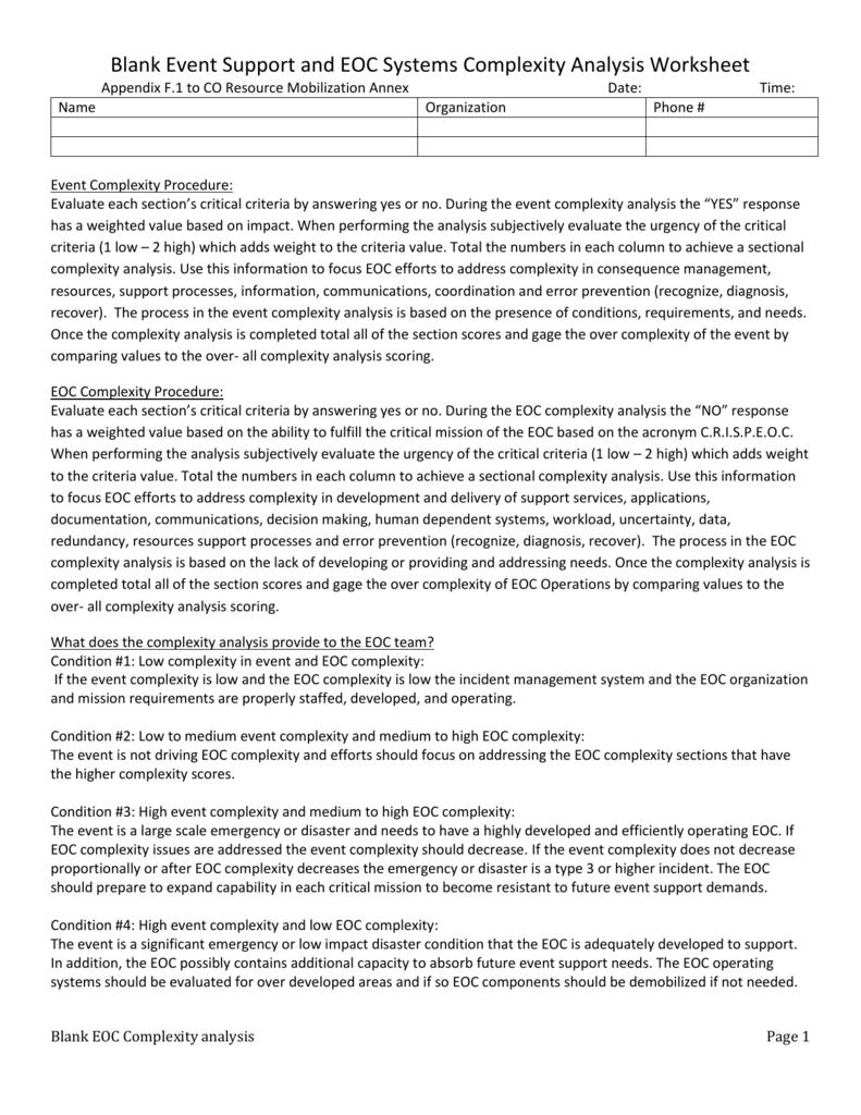 Blank EOC Complexity Analysis Worksheet (Appendix F 1)