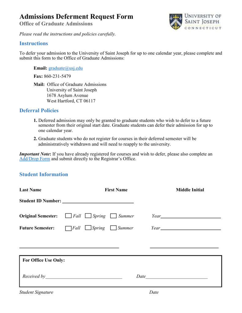 Admissions Deferment Request Form