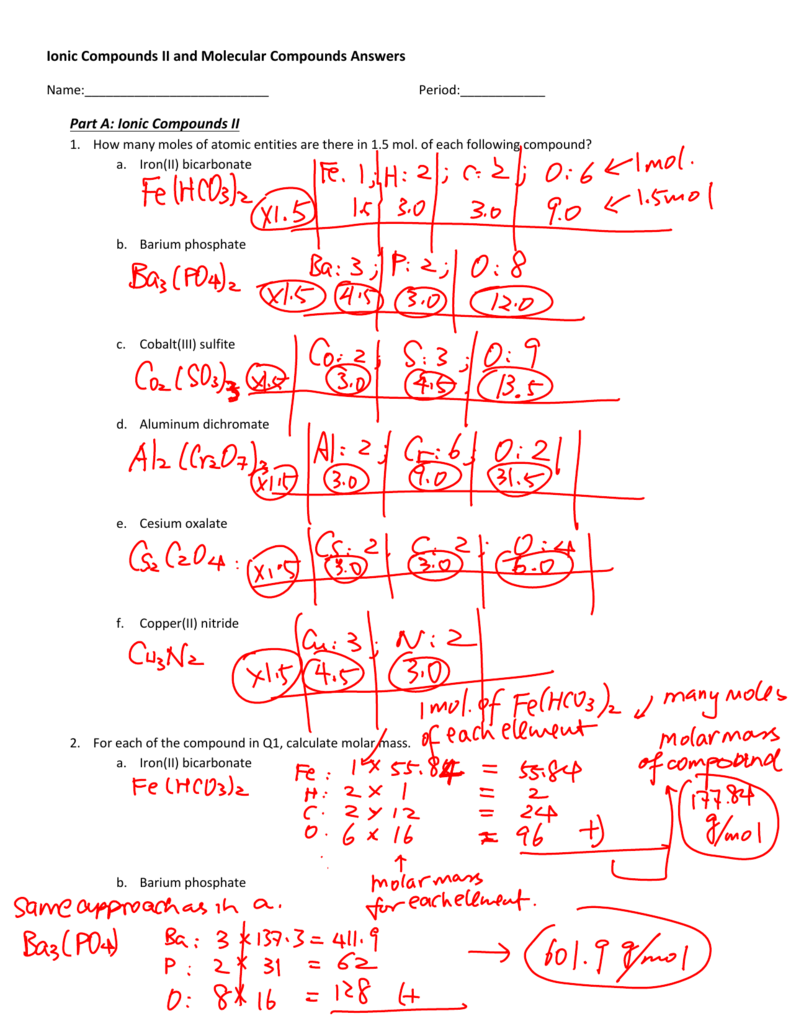 Worksheet on Ionic and Covalent/Molecular Compounds Answers