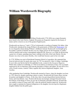 "Citation : Pettinger, Tejvan. ""Biography of William Wordsworth"""