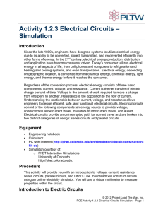 Activity 1.2.3 Electrical Circuits – Simulation Introduction