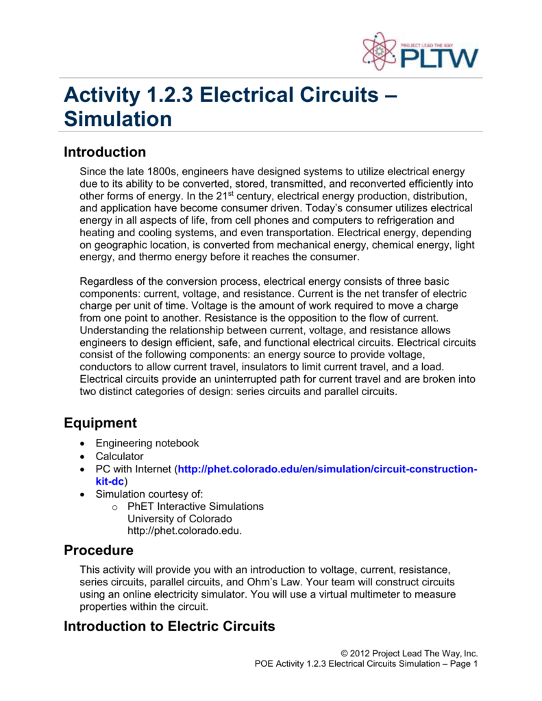 Activity 123 Electrical Circuits Simulation Introduction Led Circuit