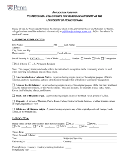 Application form - University of Pennsylvania