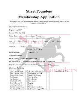 Street Pounders Membership Application