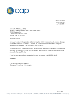 Emory Medical Laboratory-EUOSH CAP Accreditation Letter