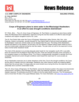 Corps of Engineers plans to store water in the Mississippi