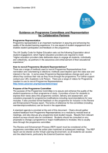 Guidance on Programme Committees and Representation for