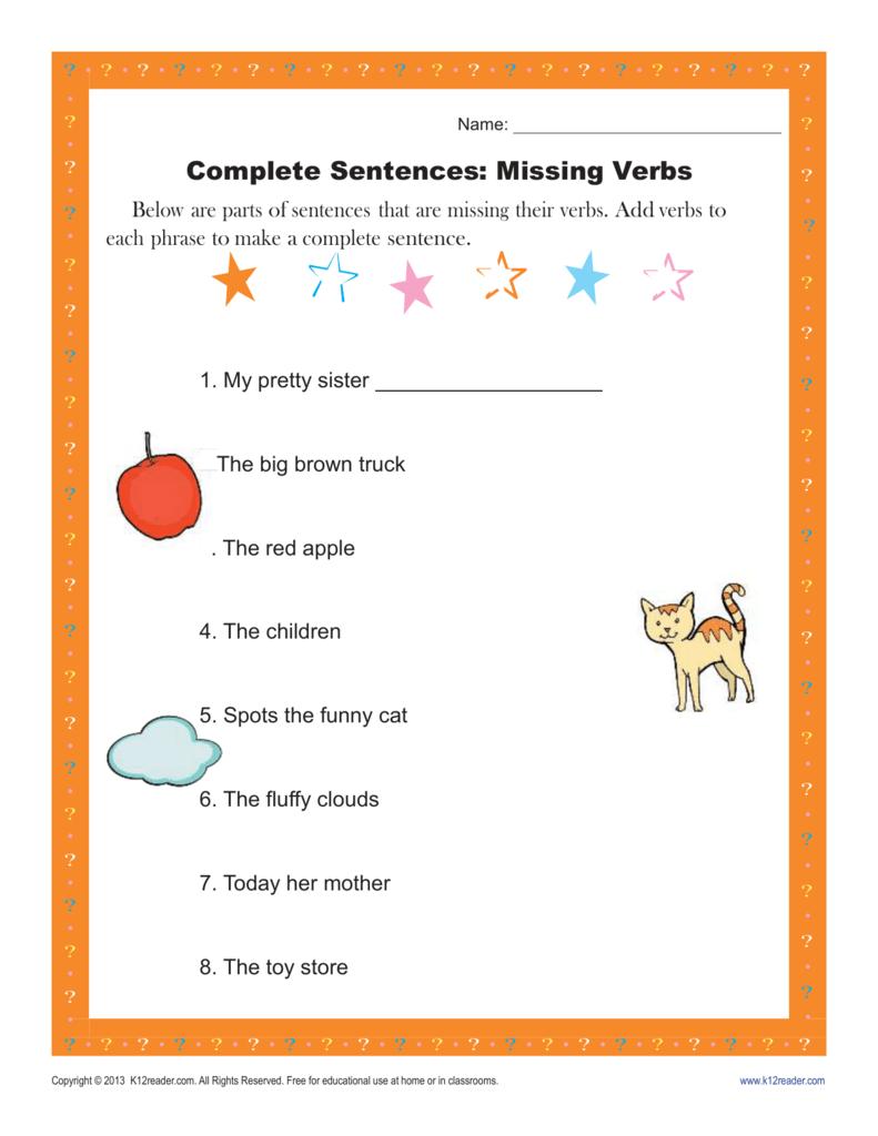 Complete Sentences: Missing Verbs | Sentence Structure Worksheets