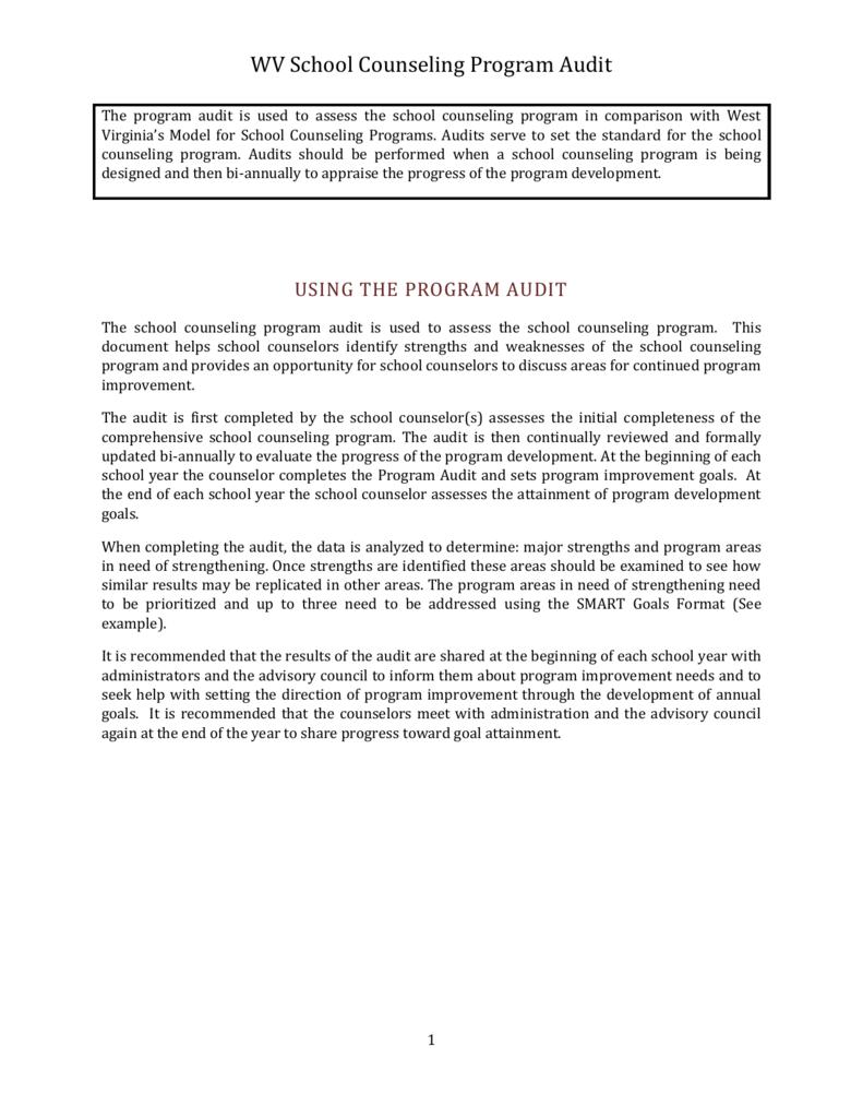 Wv School Counseling Program Audit