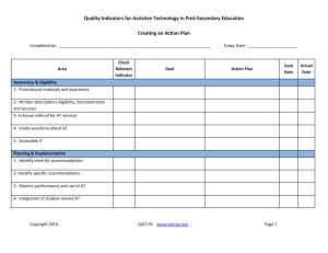 Creating An Action Plan. - Quality Indicators for Assistive Technology