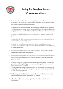 Policy for Teacher Parent Communications