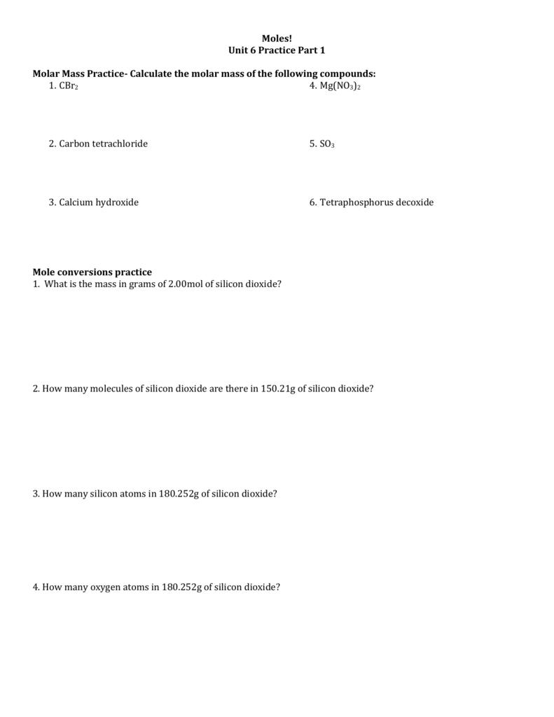 Unit 6 Practice – Molar Mass Practice Worksheet
