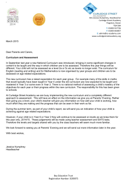 CURRICULUM - NEW - Letter from JH to parents March 2015