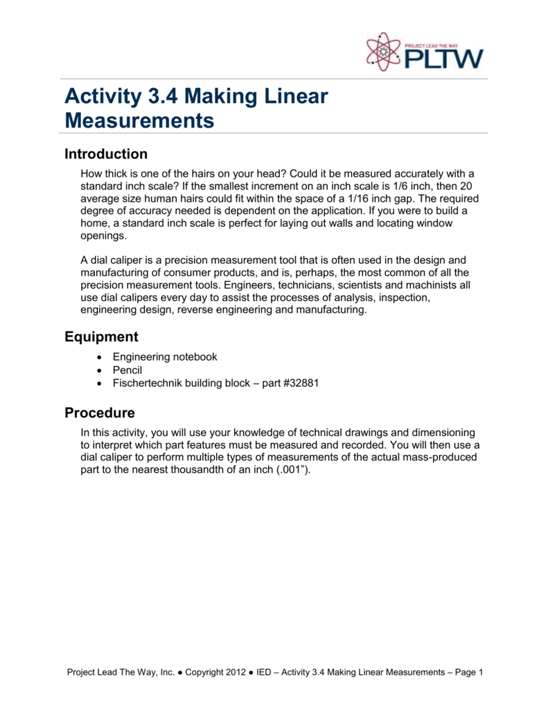 Activity 3 4 Making Linear Measurements Introduction