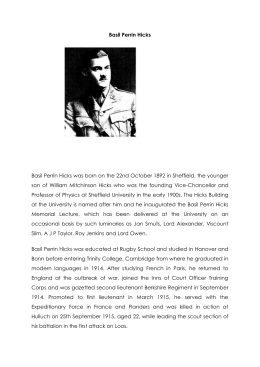 HICKS Basil Perrin - Bushey First World War Commemoration Project