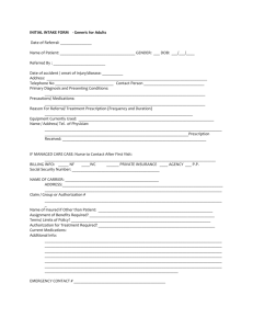 INITIAL INTAKE FORM(s) - Adult and Pediatrics