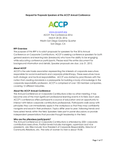 Request for Proposals Speakers at the ACCP Annual Conference