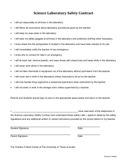 Science Laboratory Safety Contract