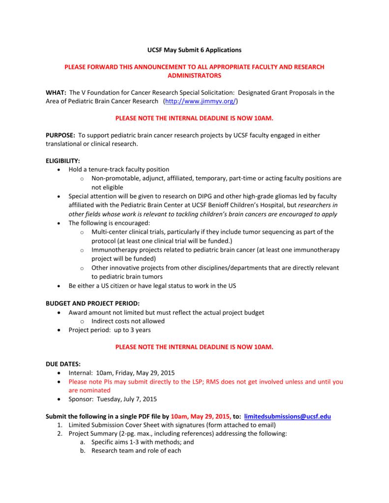 Designated Grant Proposals in the Area of Pediatric Brain Cancer