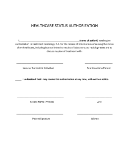 HEALTHCARE STATUS AUTHORIZATION