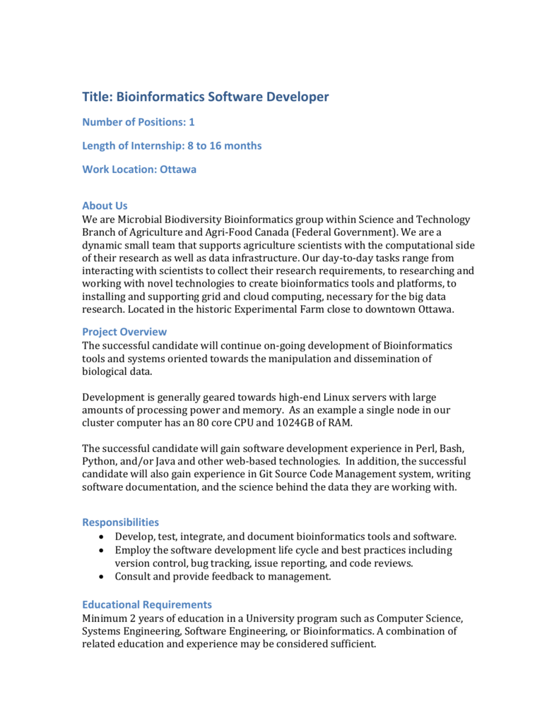 Job Description – Bioinformatics Software Developer Internship