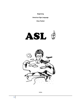 Beginning American Sign Language Class Packet ASL Index An