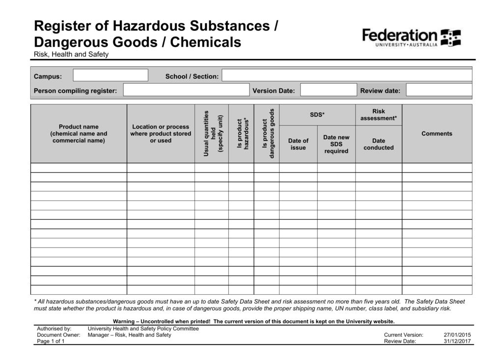 hazardous substance register template - hazardous substance register template logs and inventory