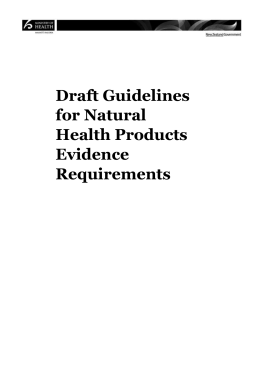 Draft Guidelines for Natural Health Products