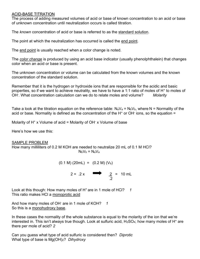 Worksheets Titration Worksheet acid base titration