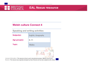 Welsh culture speaking and writing activities - EAL Nexus