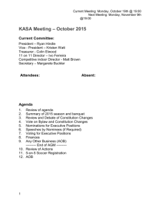 2015 AGM – Agenda and Proposed Constitution Changes