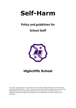 Self-Harm Policy and Guidelines for School Staff