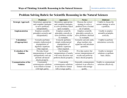 Ways of Thinking: Scientific Reasoning in the Natural Sciences