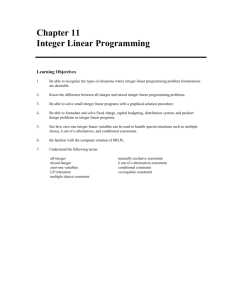 Chapter 11 Integer Linear Programming