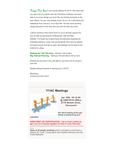 Vancouver YaYa (Youth and Young Adults) Jan 2015 newsletter