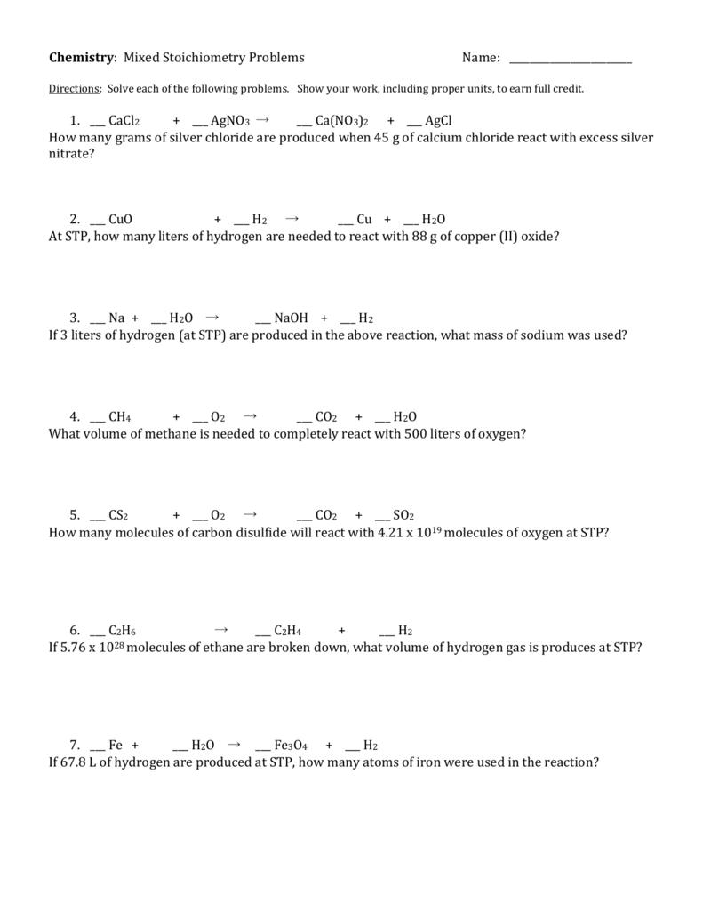 Worksheet Mixed Stoichiometry Worksheet Carlos Lomas Worksheet For
