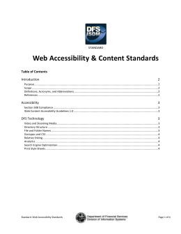 Web Accessibility and Content Standards