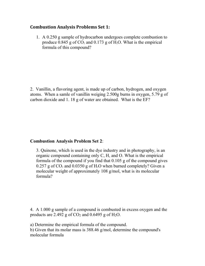 worksheet Combustion Analysis Worksheet combustion analysis problem sets 1 3