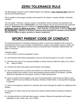 sport parent code of conduct - Bloomington Cardinals Youth Football
