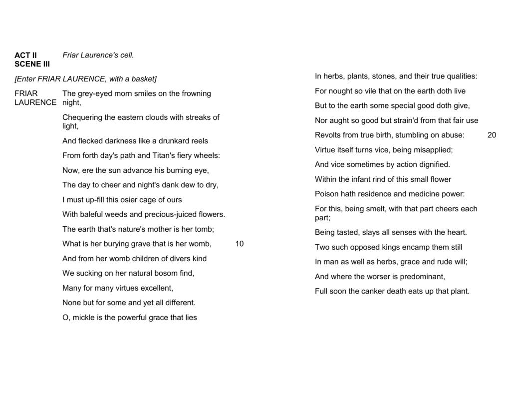Friar Lawrence S Speech Soliloquy Summary