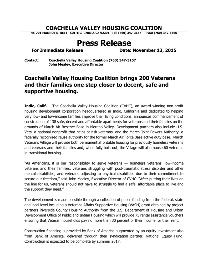 Coachella Valley Housing Coalition brings 200 Veterans and their