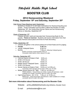 BOOSTER CLUB 2014 Homecoming Weekend Friday, September