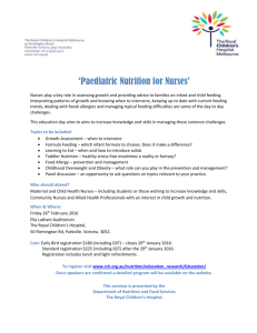 Nutrition for Nurses 2016 - The Royal Children`s Hospital