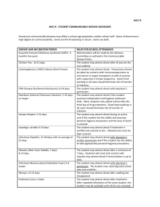 jhcc-r - student communicable disease guidelines