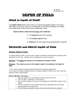 6.2 Depth of Field Handout