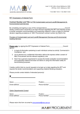 RFT Expression of Interest Form for contaminated land and landfill