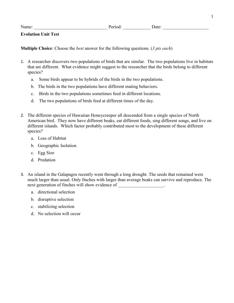Evolution Test and Answer Key