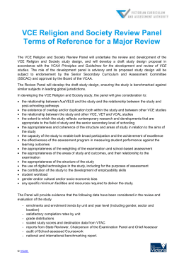 VCE Religion and Society Review Panel Terms of Reference for a