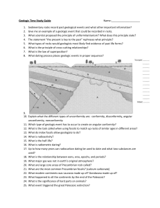 Geologic Time Study Guide Name: Sedimentary rocks record past